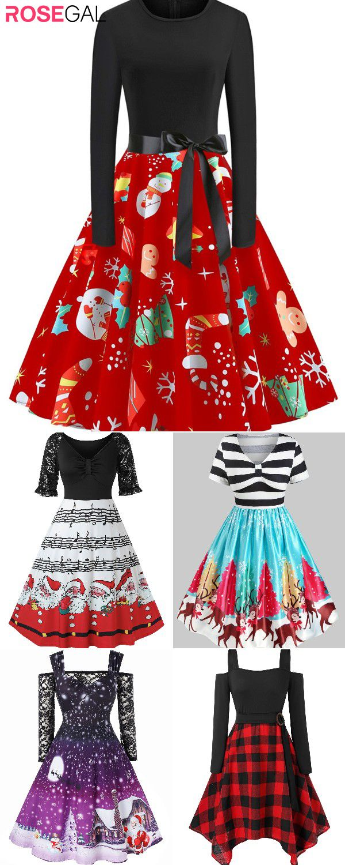 Rosegal Plus size vintage dresses ideas Christmas party dresses #christmaspartyoutfit
