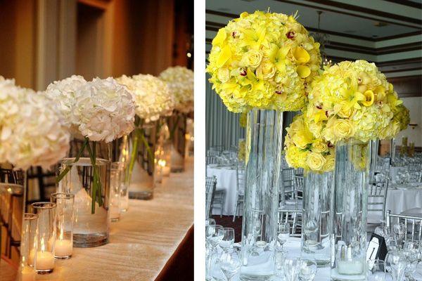 Para la decoraci n de la boda pueden utilizar un cilindro for Mesas de cristal para bodas