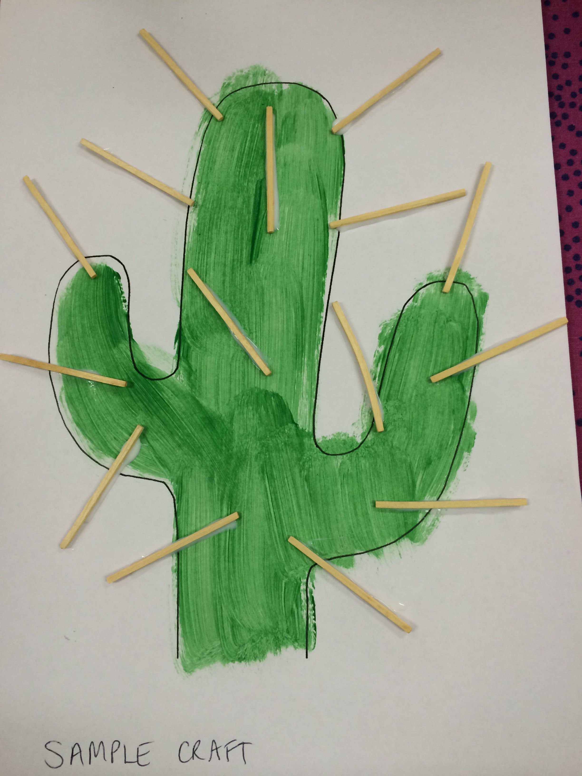 Western arts and crafts - Wild West Craft Made By Painting A Cactus Template Gluing On Match Sticks With Pva