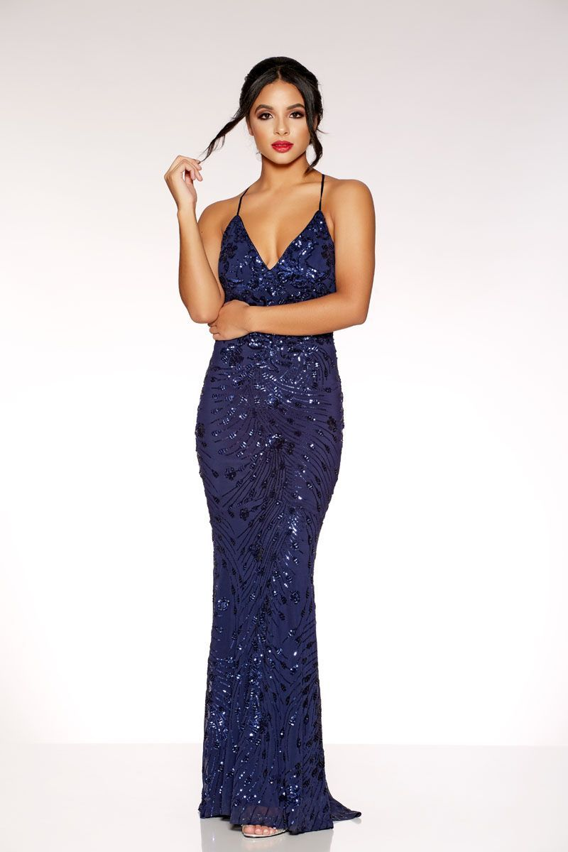 6e07168e58a Navy Sequin Cross Back Fishtail Maxi Dress - Quiz Clothing Navy Sequin Dress,  Navy Prom