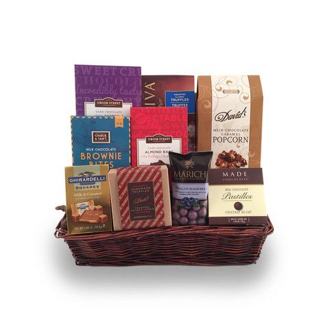 I won a gift basket like this once at a work party. There was a bunch of chocolate in it like this one. I'm glad I went to the company party because if I didn't, I wouldn't have won the gift basket. I hope I can win another one at the next company party.