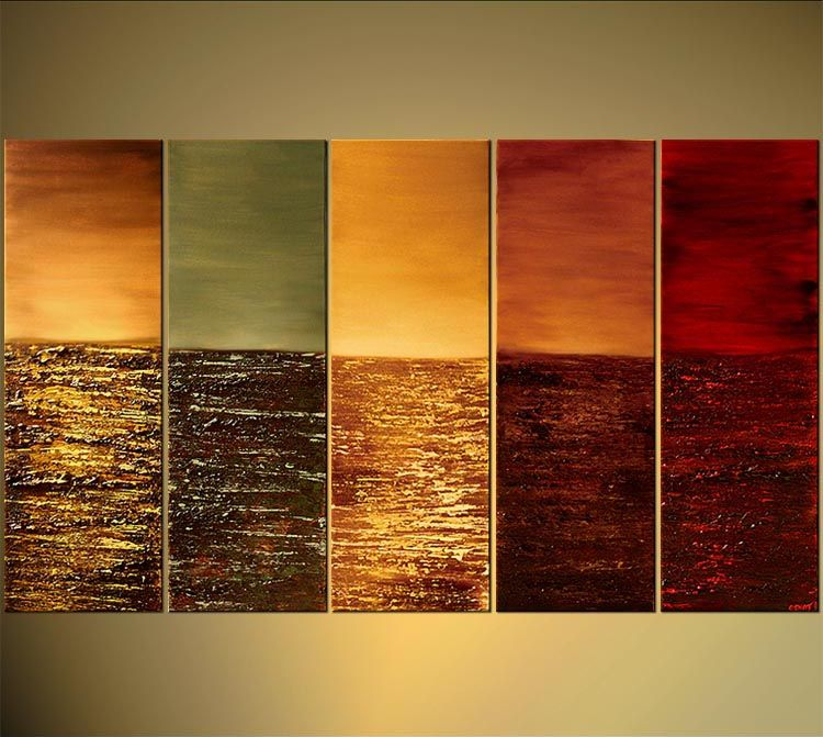 Abstract Warm Color Tones Oil Painting Hand Painted Wall Art - 5 ...