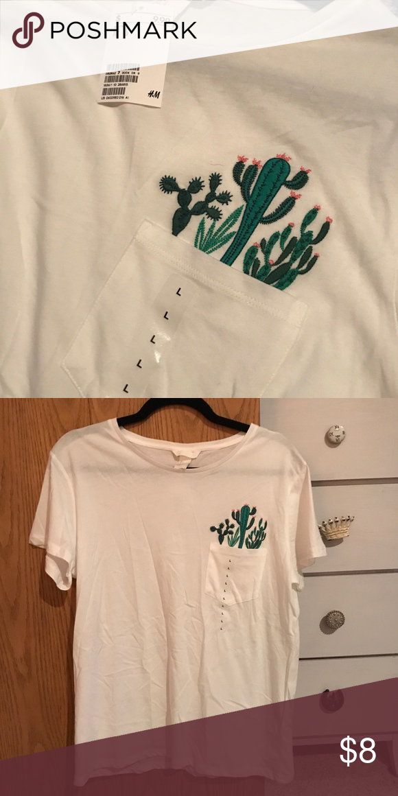 1c65baa9e304fe NWT H M cactus tee! NWT    never worn Real pocket Fully embroidered cactus  detailing Super cute Basic soft white cotton tee Feel free to any any  questions ...