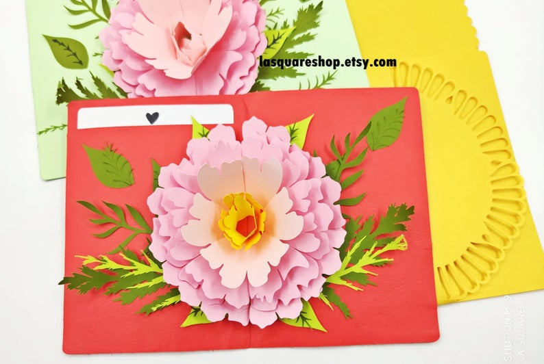 3d Pop Up Greeting Card Diy Flower Pop Up Card Printable 5x7in Christmas Card Svg Valentine Day Card Handmade Birthday Greeting Card Christmas Cards Handmade Pop Up Card Templates Greeting Cards Handmade