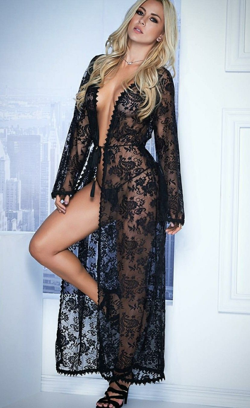 7e57ad1d736 Sexy black lace robe   Valentine's Day   Lace robe, Lingerie, Long robe
