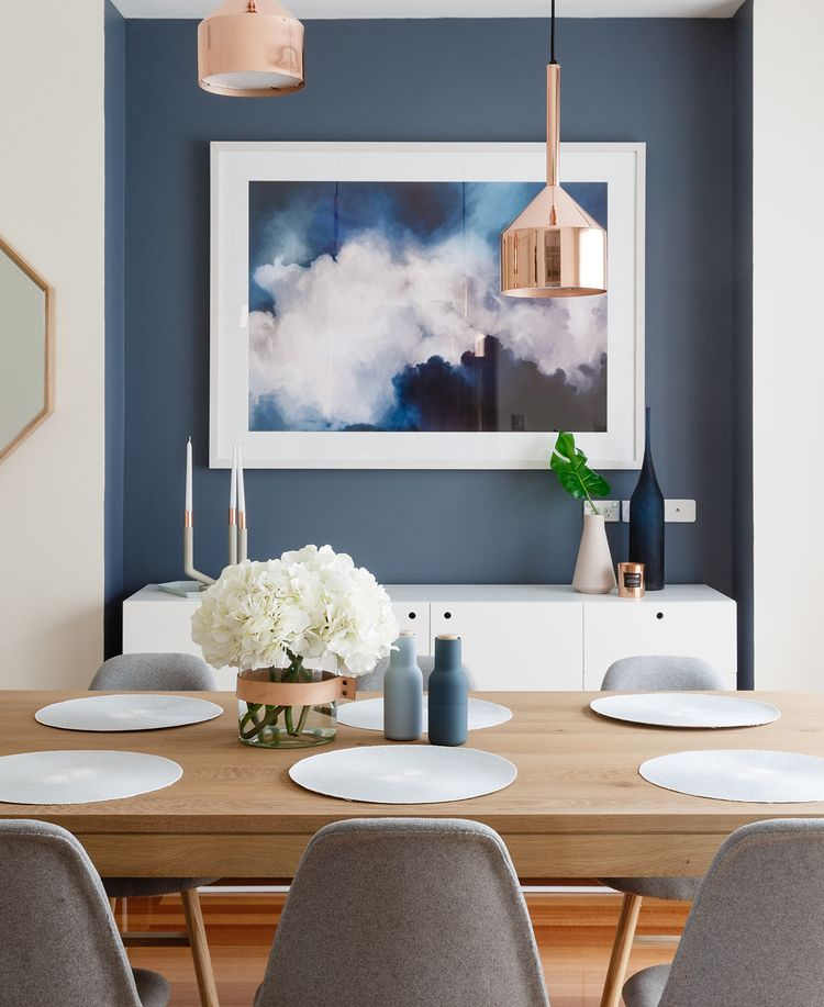Photography Jeremy Blode Styling And Design Little Liberty Interiors Blue Feature Wall In Dining Room With Art Copper Pendants Light Wood Table