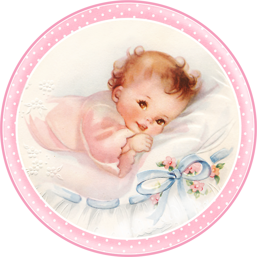 Cute Babies at Bed. Free Printable Cards, Toppers or