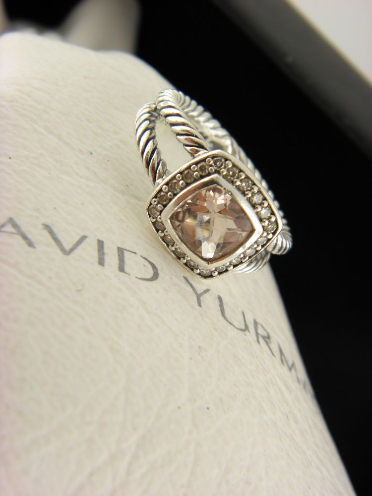 32b3a56beea3d David Yurman Petite Albion Ring with Morganite and Diamonds SZ 5 # DavidYurman #Cocktail