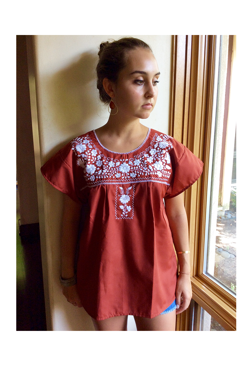 41eb4cc3777300 $40.00 Xochitl Blouse - Collegiate Collection - Burnt Orange with White  Embroidery - Multiple Sizes Available