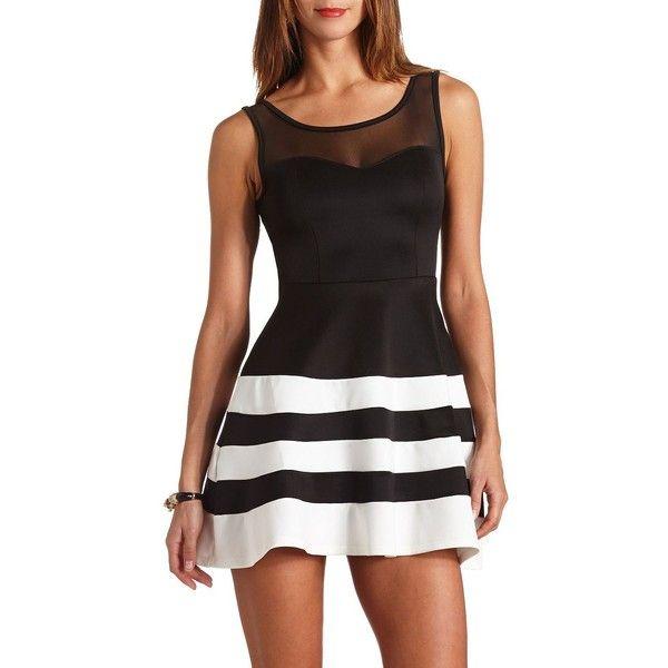 Striped Mesh Sweetheart Skater Dress