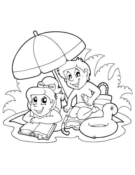 Summer coloring pages 60 days of summer fun pinterest for Summer activities coloring pages