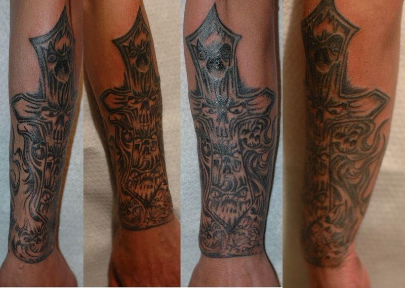 Forearm tribal cross tattoos,quotes funny tagalog,basketball tattoos ...