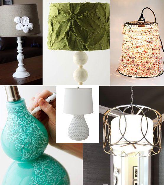 White And Burlap Rosette Lamp Diy Green And Bone Lamp Aqua And