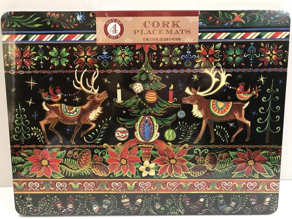 Benson Mills Placemats Cork Back Christmas Folk Art Reindeer Poinsettias 12x16 Placemats Mats Adorable