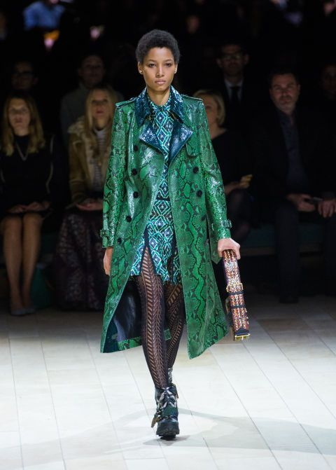 Burberry Crazy quotient: Barely a blip, thanks to the green/blue/animal-skin coordination.