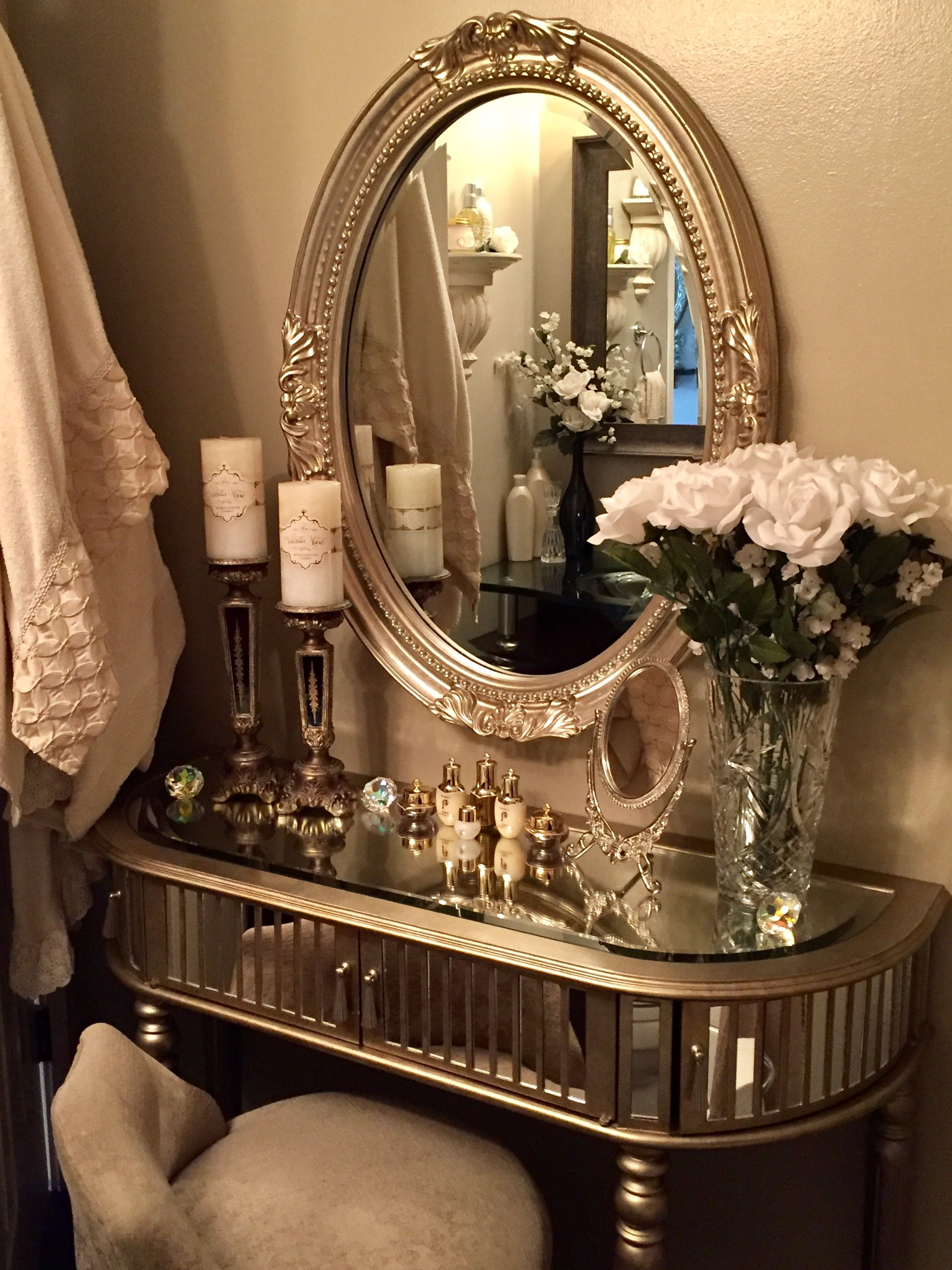 Small bathroom luxury mirrored vanity Elegant vanity