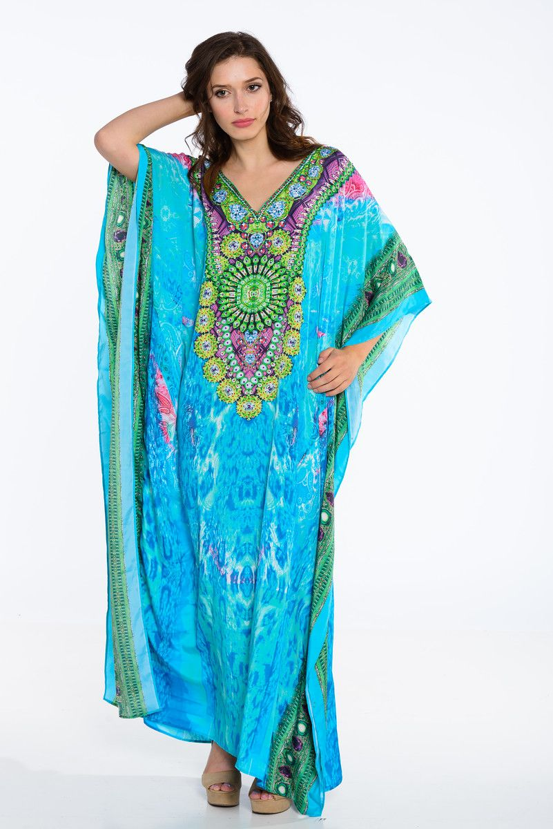 0d2513595c8 Gorgeous Blue-Green Kaftan for plus sizes and regular ! Beautifully  embellished details . Pick yours TODAY !!
