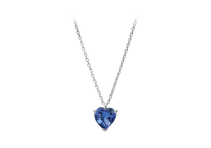 14k or Jaune Saphir Double Coeur Collier Pendentif