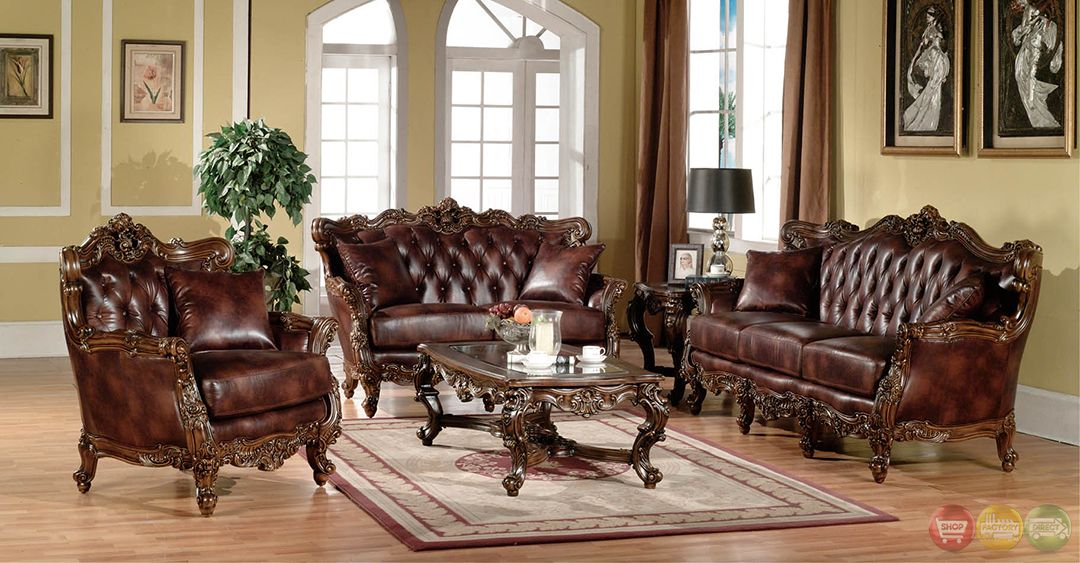 Lilly Traditional Dark Wood Formal Living Room