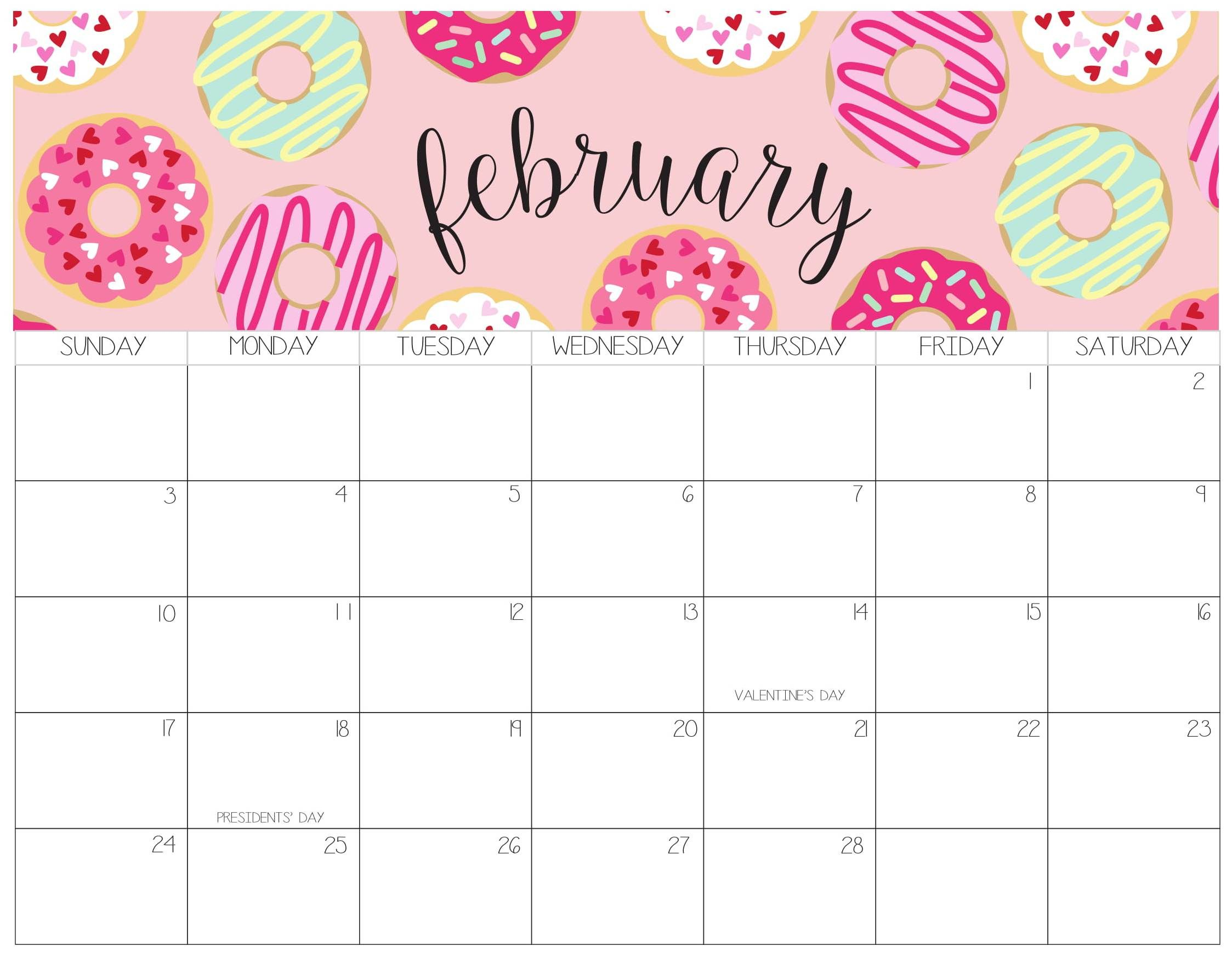 Cute February 2019 Calendar Printable Template