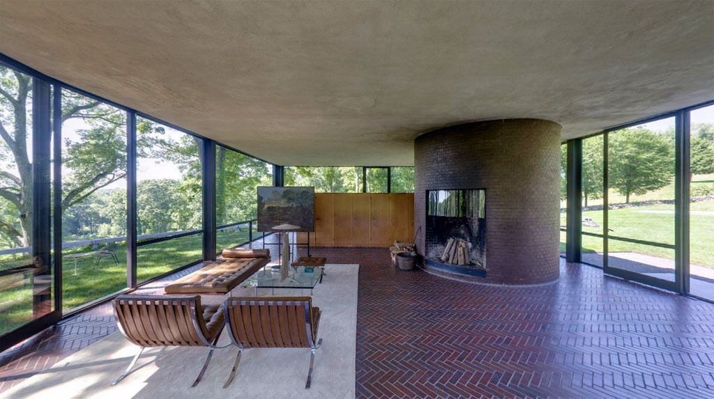 Philip courtelyou johnson glass house living room new canaan connecticutt 1949