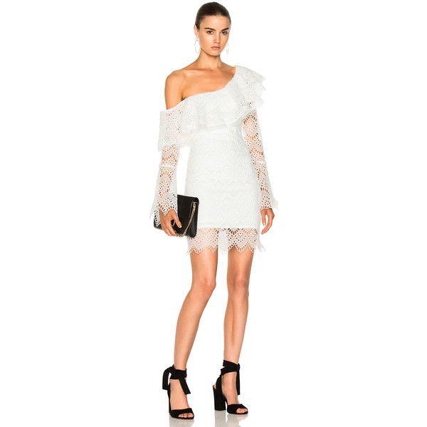 Nicholas Antique Lace One Shoulder Dress 315 Liked On Polyvore Featuring Dresses One Shoulder White Cocktail Dress Cocktail Dress Lace White Eyelet Dress