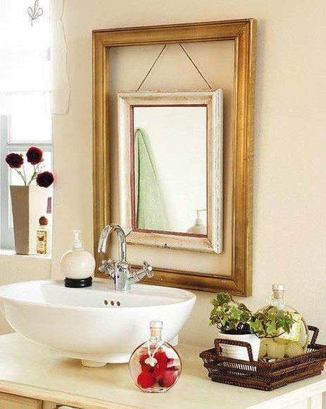 Decora los espejos del Hogar al estilo Vintage en simples pasos. http://ideasparadecoracion.com/marco-doble-estilo-vintage-para-un-espejo/