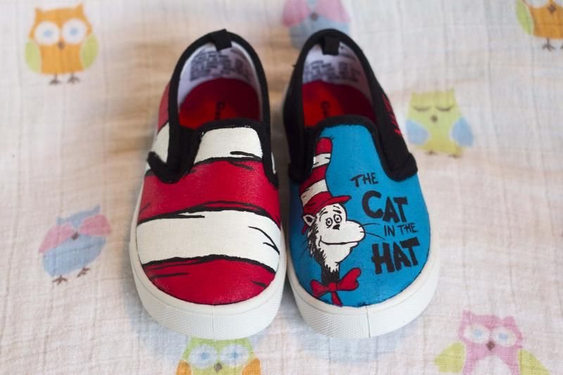 71605c9f2d4c7 The Cat in the Hat Painted Toddler Shoes - CLOTHING Craftster Best ...