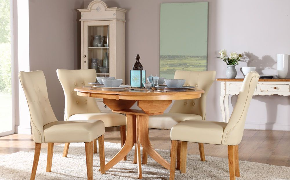 Hudson Bewley Round Extending Oak Finish Dining Table 4 6 Chairs Set Ivory Ebay