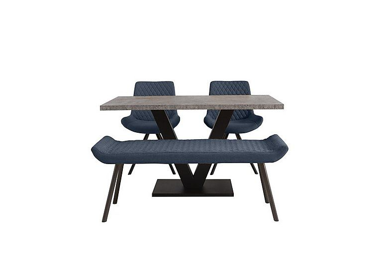 Contemporary Dining Set Concrete Effect Dining Table With 2 Chairs And A Low Dining Bench Fabric In 2021 Dining Set With Bench Dining Bench Contemporary Dining Sets
