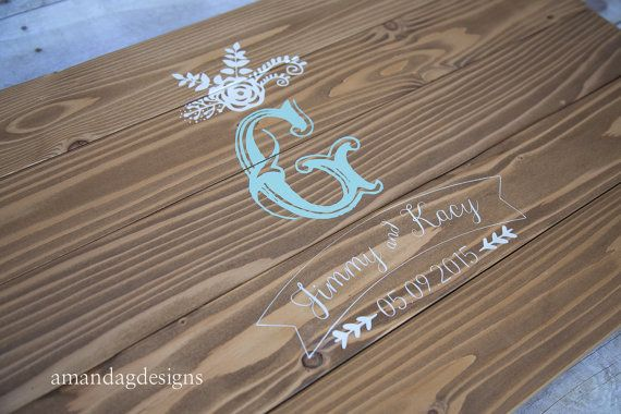 Wedding Guest Book Alternative Wood Sign Floral Design Wooden Guest Book Wood Guest Sign In