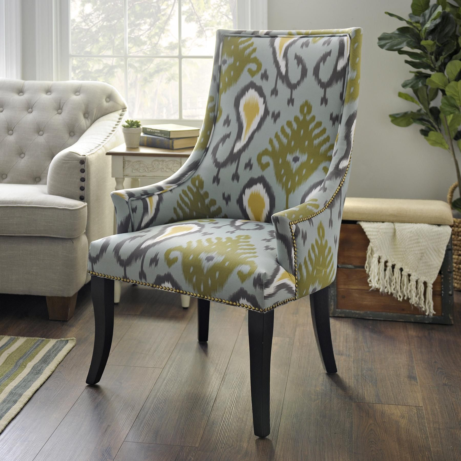 Blue Ikat Chatham Accent Chair Comfortable accent chairs