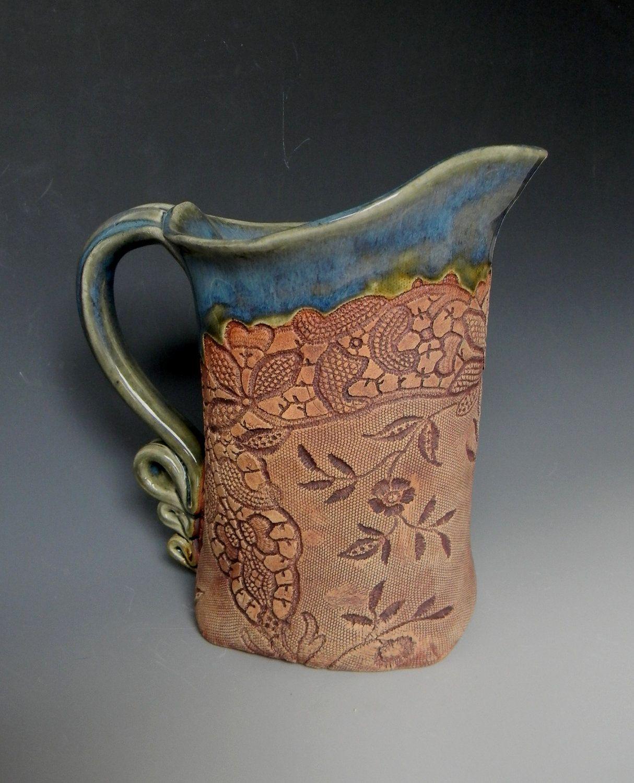 Green Antique Lace Collar Impressed Ceramic 1 Quart