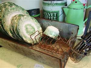 pretty old green dishes