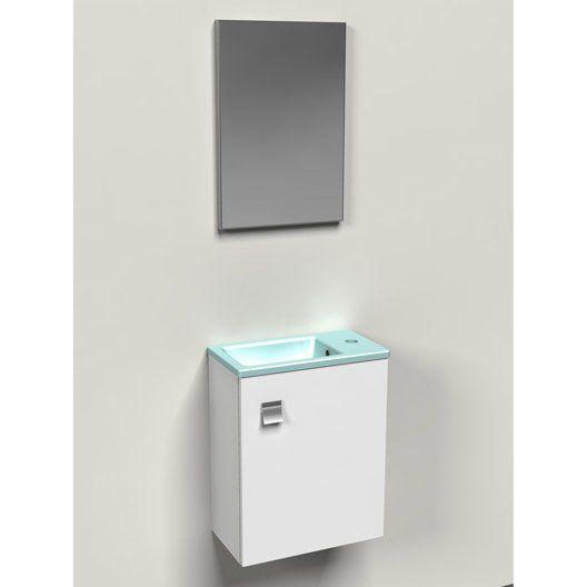 Meuble Lave Mains Sans Miroir Bleu L 40 X P 22 6 X H 51 Cm Meuble Lave Main Meuble Lave
