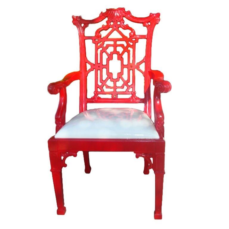 Check out the deal on Red Hot Lacquer Chippendale Arm Chair at Eco First Art