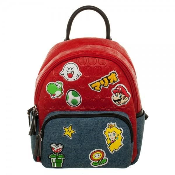 Power up with this fun red PU and blue denim Super Mario Brothers Patches  Jrs. Mini Handbag! Appliqued patches of Princess Peach 5687848e48226