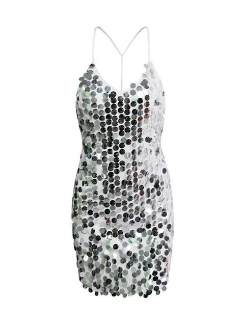 Sparkle Shinny Halter Sequin Dress