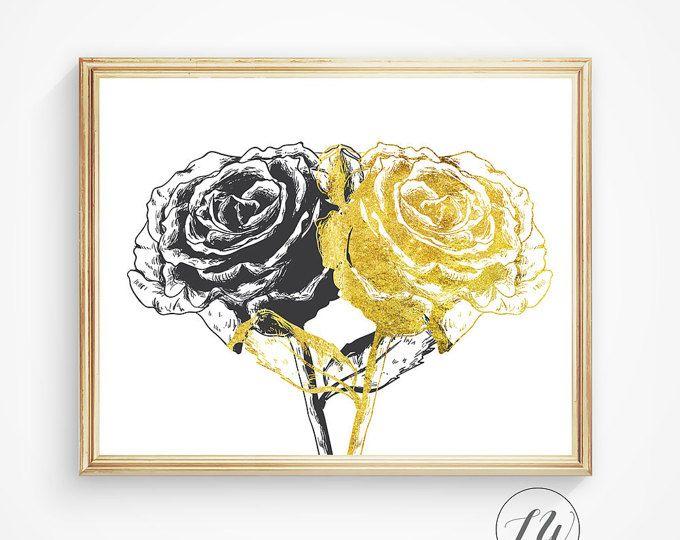 Wall print, Gold foil print, rose wall print, black and gold print ...
