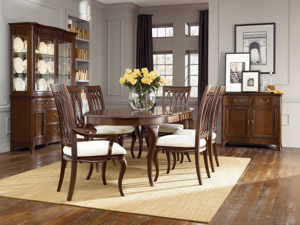 American Drew Cherry Grove New Generation Oval Dining Table With Six Chairs