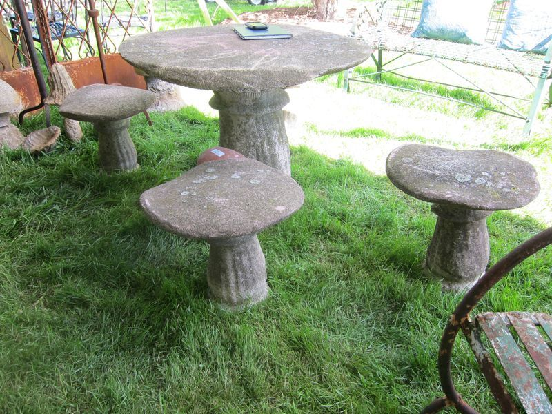 Cement Toadstool Garden Table And Stools