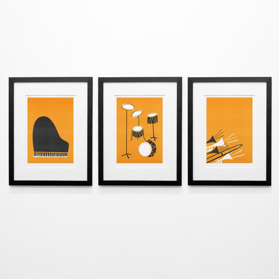 Set Of 3 Music Posters Mid Century Modern Wall Art