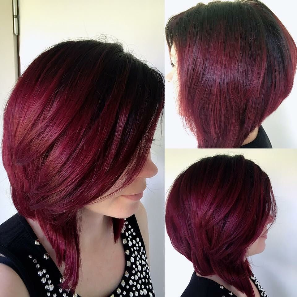 Dark Red Ombre With Shadow Roots Red Hair Dark Roots Wine Red Hair Bright Hair Colors