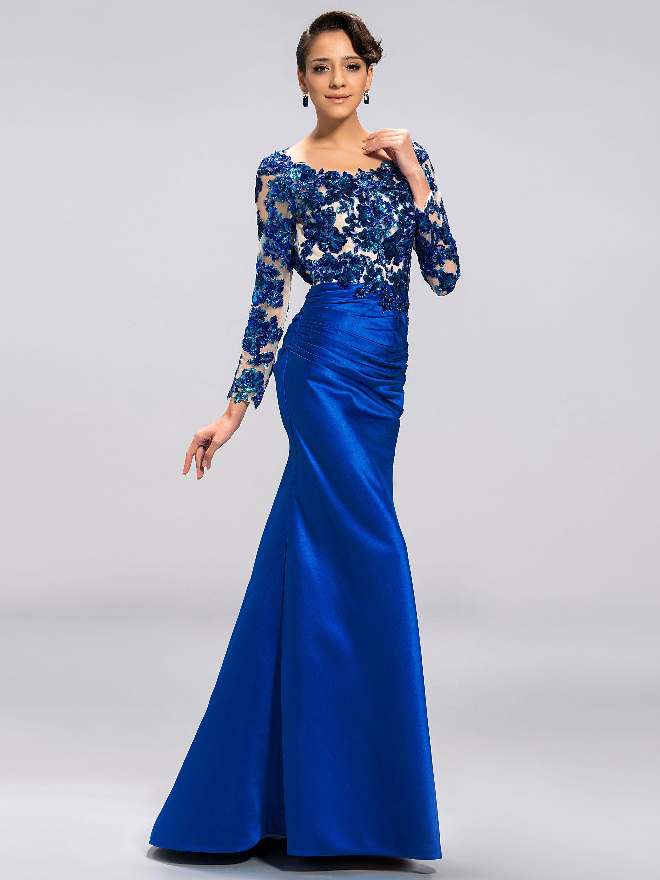 Manufacturer of elegant dresses evening dresses occasional wholesale - Classy Scoop Long Sleeves Appliques Backless Evening Dress
