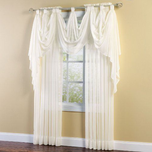 Hunter Green Kitchen Curtains: Brylanehome Sheer Voile Tab-Top Valance By BrylaneHome. $5