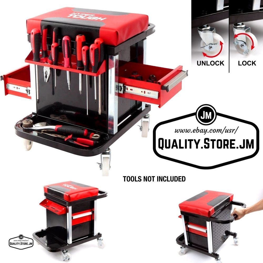 Rolling Tool Cart Box With Drawers Creeper Seat Wheels