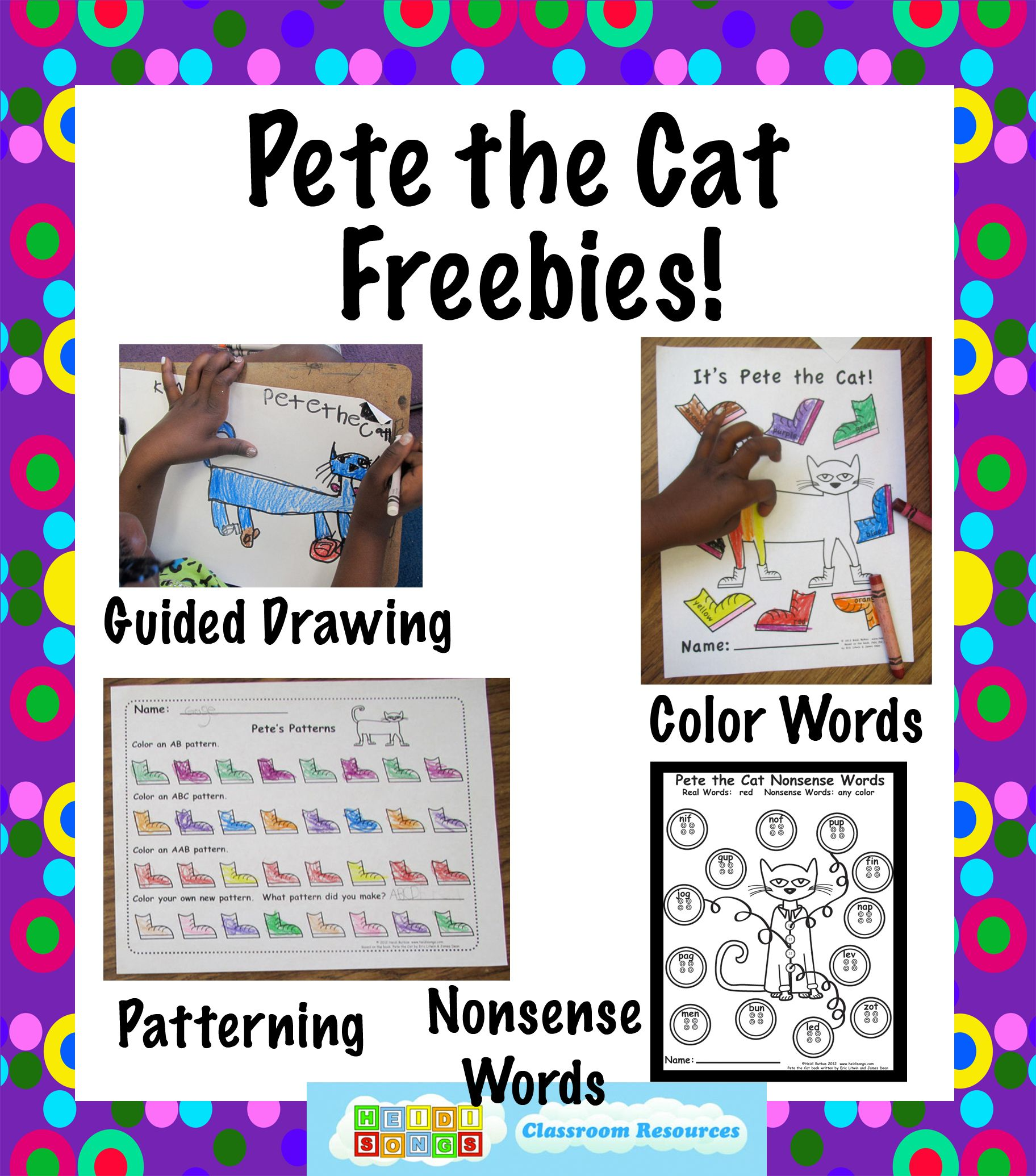Pete The Cat Freebies Guided Drawing And More