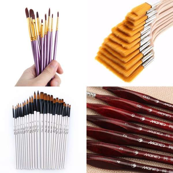 Artists' Brushes Art & Craft Supplies 10pcs Art Paint Painting Brushes Artist Nylon Hair Watercolor Oil Drawing Brush#