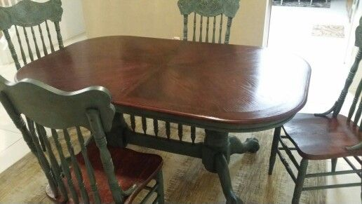 My Husband Refinished This Gorgeous Table Black Cherry Stain On The Table Top And Same For The S Oak Wood Dinner Table Wood Dinner Table Refinishing Furniture