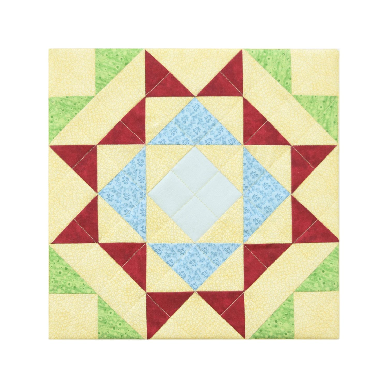 Quadrille No 10 Yellow Blue Red Blue Green Aqua Modern quilt block ...